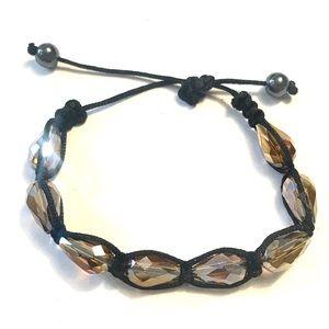 5 For $15/Smoky Topaz Glass  Bracelet